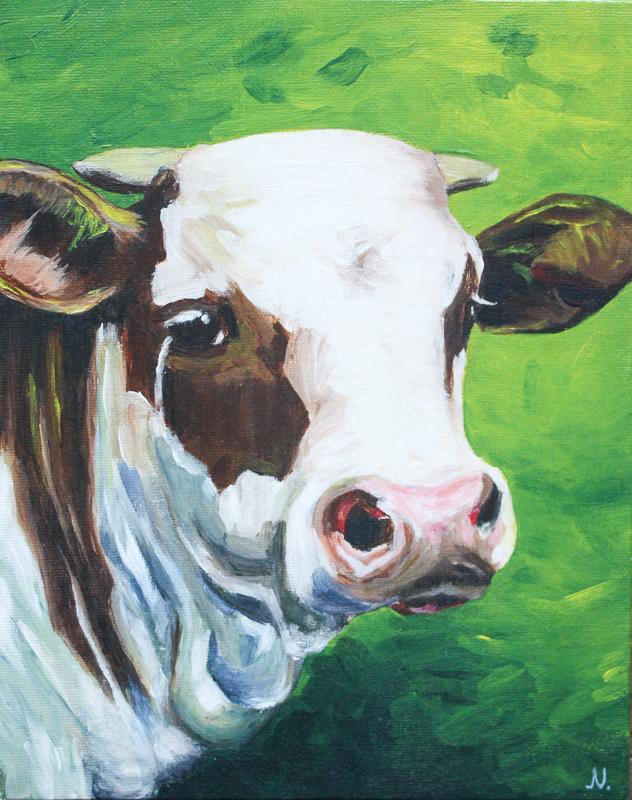 Dierenportret van een koe, schilderij door Jonne Nabuurs, acryl op canvasboard, 24 bij 30 centimeter